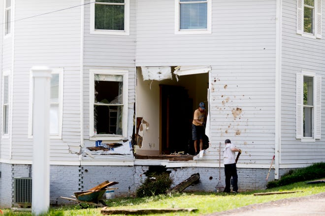 The scene of an early morning crash where a car drove into a Westwood Street building at a high rate of speed in Knoxville, Tennessee on Saturday, August 11, 2018.