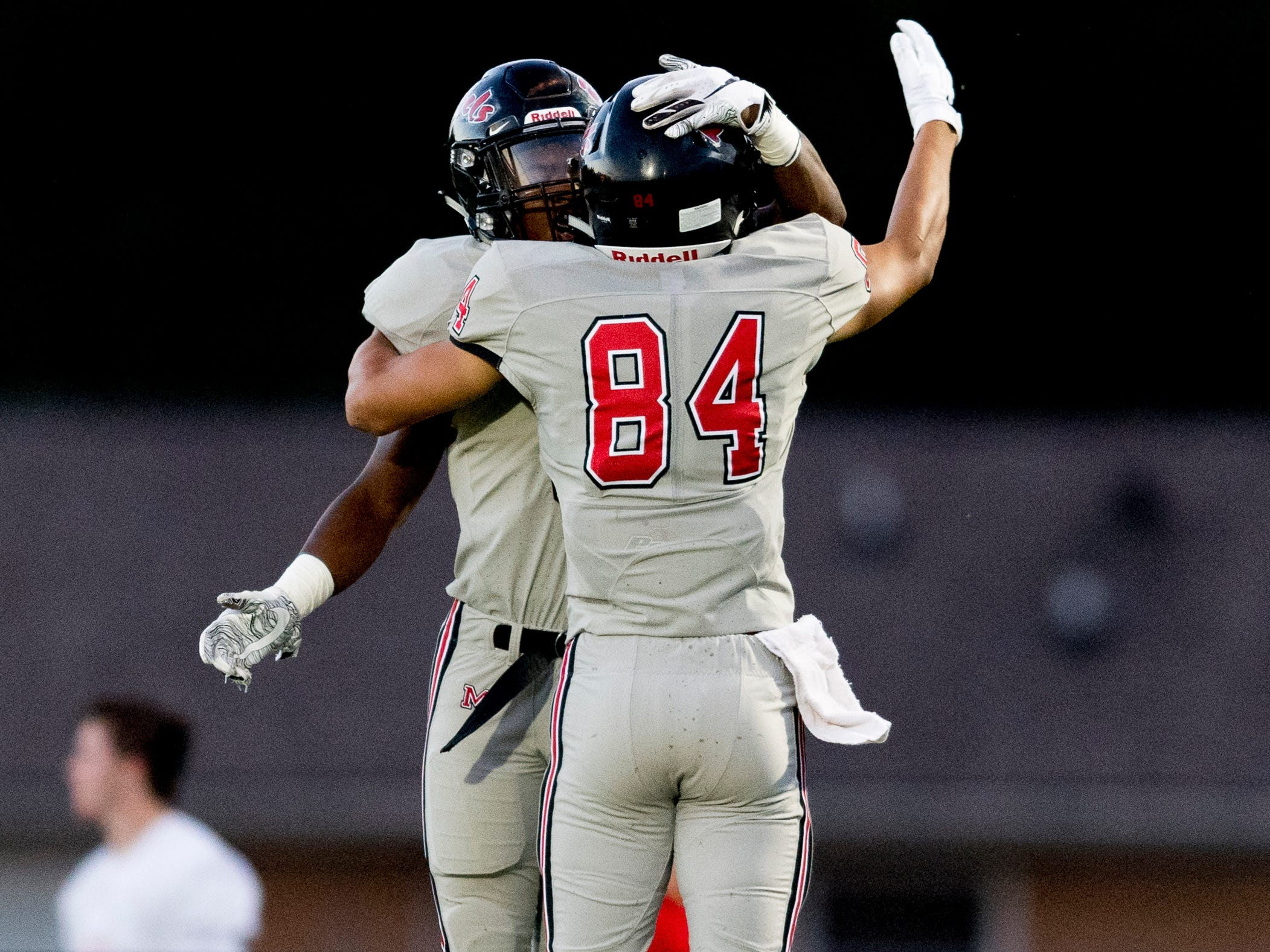 Maryville's A.J. Davis (3) is congratulated by Brayden Anderson (84) on his touchdown against William Blount during the Blount County football jamboree at William Blount High School in Maryville, Tennessee on Friday, August 10, 2018.