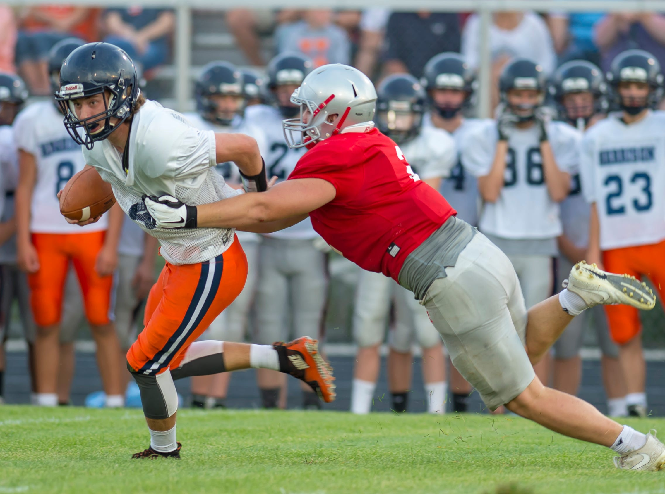 Joey Kidwell's second sack in the football scrimmage between the Harrison Raiders and the West Lafayette Red Devils from Gordon Straley Field