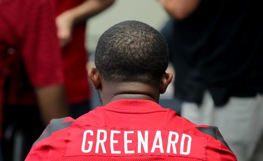 Louisville's Jon Greenard is interviewed at U of L football media day.