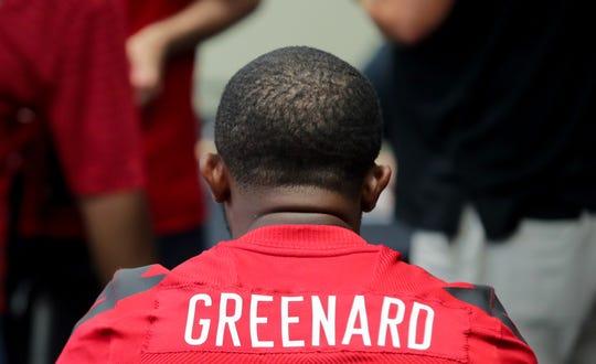 Louisville's Jon Greenard is interviewed at U of L football media day.