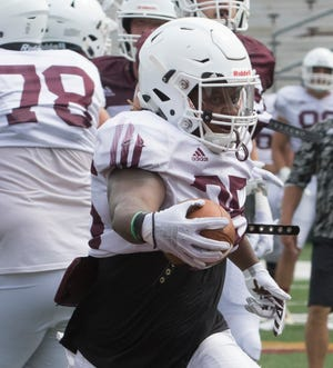 Sophomore running back Kayin White scored one of the ULM offense's two touchdowns in last week's scrimmage.