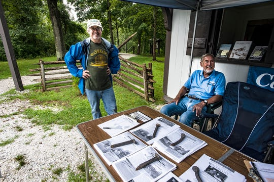 (L-R) Volunteers Tim Roth of Long Valley and Rod Howarth of Wharton man the entrance booth at Canal Day at Waterloo Village in Stanhope, August 11, 2018.  Photo by Warren Westura for the Daily Record.