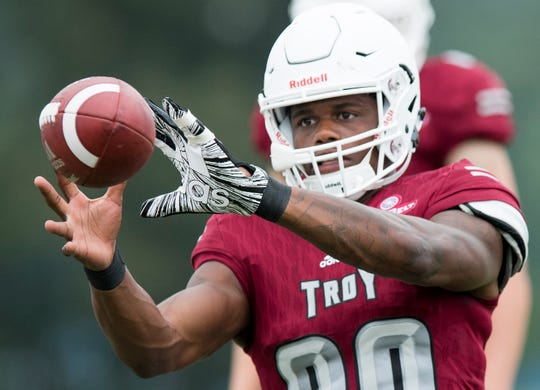 Troy University receiver Deondre Douglas warms up before the scrimmage in Troy, Ala. on Saturday August 11, 2018.