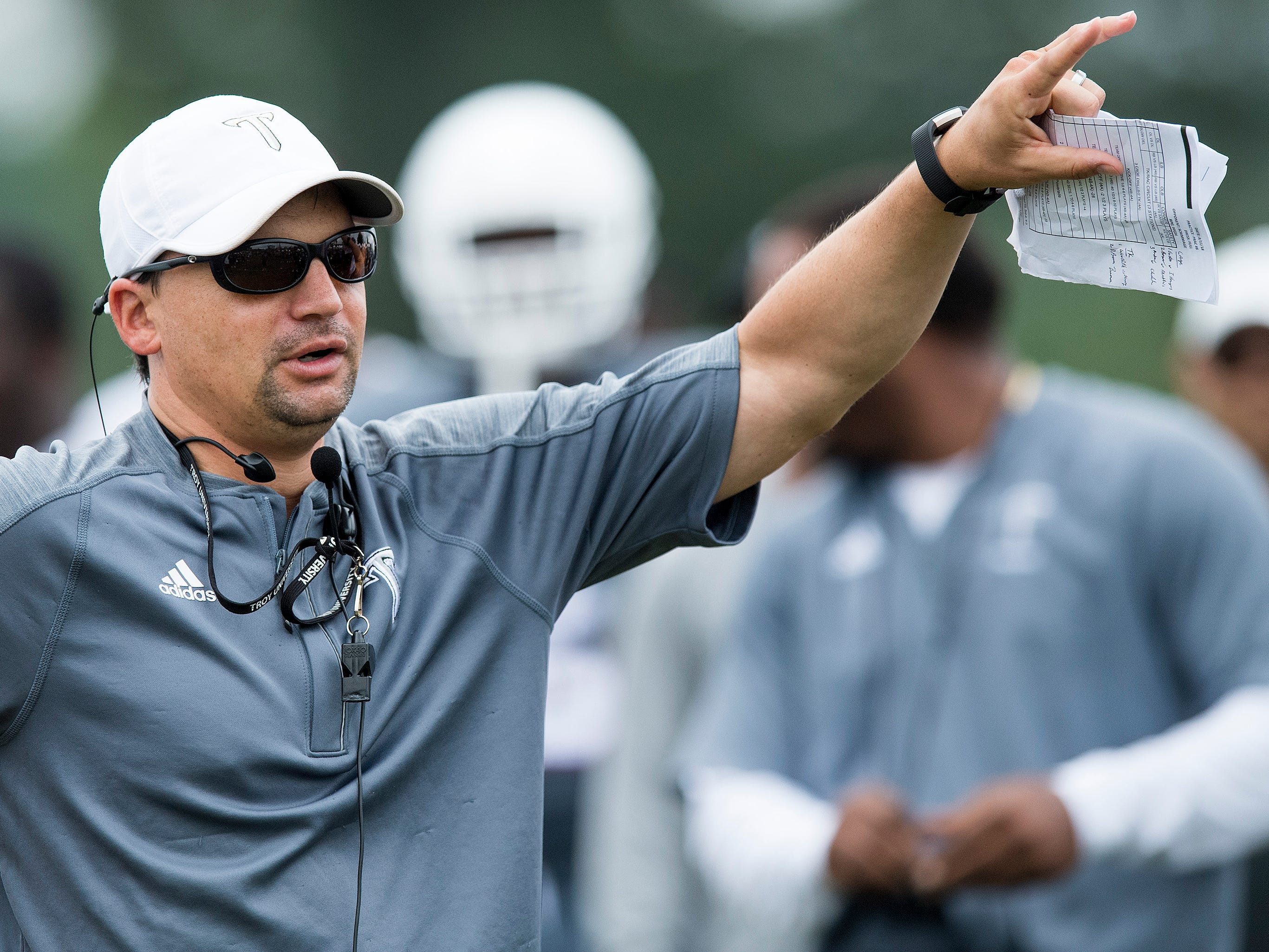 Troy University football coach Neal Brown during the scrimmage in Troy, Ala. on Saturday August 11, 2018.
