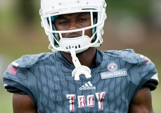 Troy University safety Will Sunderland during the scrimmage in Troy, Ala. on Saturday August 11, 2018.