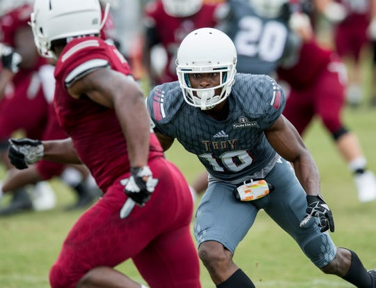 Troy University safety Will Sunderland (10) during the scrimmage in Troy, Ala. on Saturday August 11, 2018.