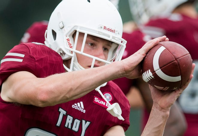 Troy University receiver Luke Whittemore warms up before the scrimmage in Troy, Ala. on Saturday August 11, 2018.