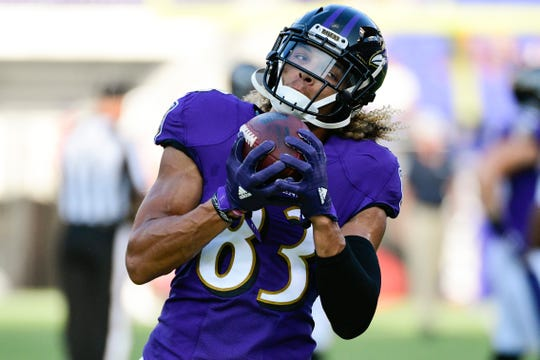 Aug 9, 2018; Baltimore, MD, USA; Baltimore Ravens wide receiver Willie Snead (83) catches a pass before the game against the Los Angeles Rams at M&T Bank Stadium. Mandatory Credit: Tommy Gilligan-USA TODAY Sports
