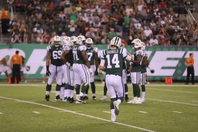 The debut of Sam Darnold as he enters the game at quarterback for the Jets during their first preseason game of the 2018 season, at home at MetLife Stadium, East Rutherford, on Friday, Aug. 10, 2018 against the Atlanta Falcons