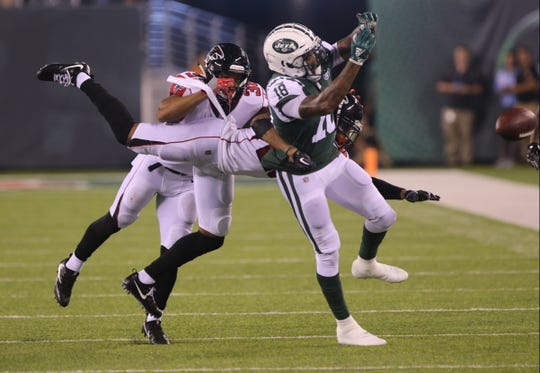 This pass in tended for Jets receiver ArDarius Stewart falls incomplete during a preseason game against the Atlanta Falcons at MetLife Stadium on Friday, Aug. 10, 2018 in East Rutherford. The Jets won, 17-0.