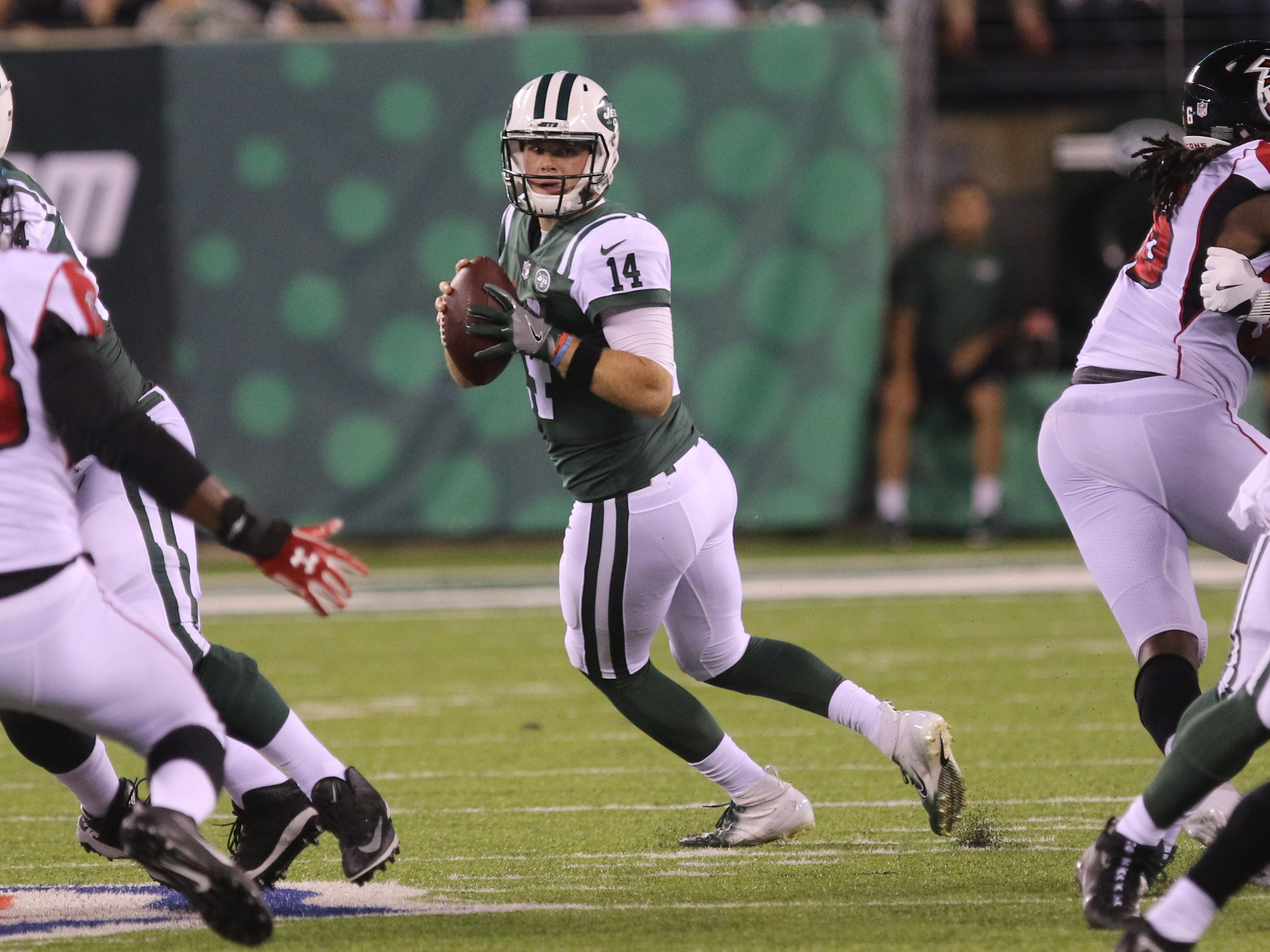 Jets quarterback Sam Darnold goes back to pass in the fourth quarter of a preseason game against the Atlanta Falcons at MetLife Stadium, East Rutherford, on Friday, Aug. 10, 2018. The Jets won, 17-0