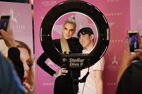 Joey Vagnato - 14 years old from Pompton lakes get his photo taken with Jeffree Star. Morphe Grand Opening with YouTube star and makeup artist Jeffree Star at Garden State Plaza in Params on Saturday August 11, 2018.