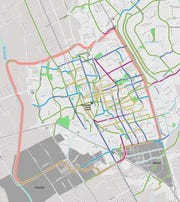An excerpt from a map showing the proposed bike network envisioned in the city of Las Cruces' new active transportation plan.