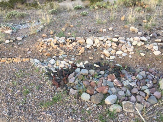Rock mosaics created by artist Kathy Morrow have been vandalized.