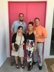 "Shad Powers and Xochitl Pena on left with ""Desert Flippers"" couple Lindsey and Eric Bennett after an open house."