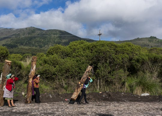 Women lift a tree trunk in Guatemala, where wages are $8 a day. This wood is used to cook food and for other things.