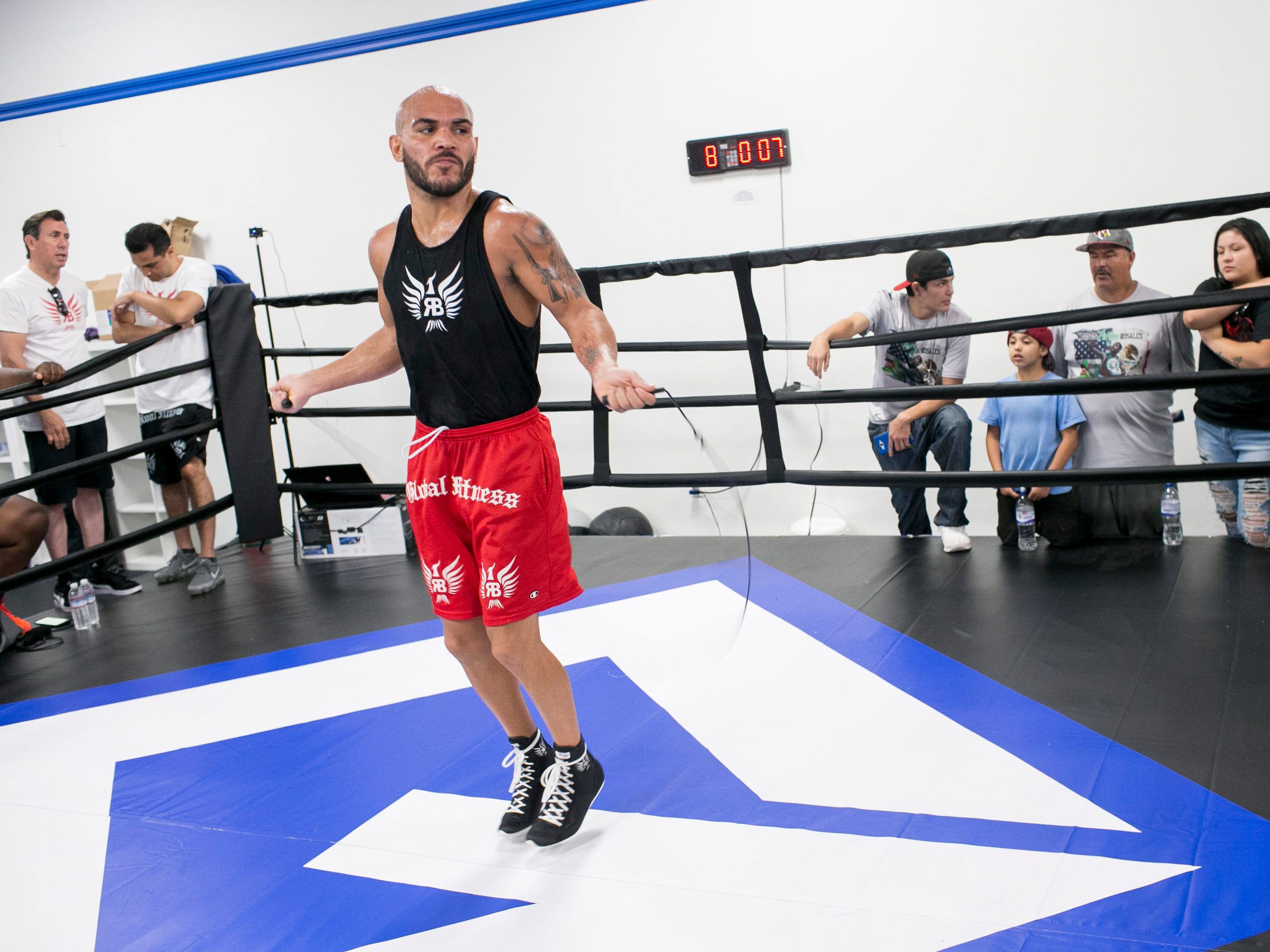 Ray Beltran, the World Boxing Organization World Lightweight champion, jumps rope at Gent's Boxing Club in Glendale, Ariz. on Sat. Aug 4, 2018.