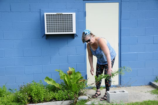 Assistant Librarian Veronica Ruck pulls a weed from the herb garden at the G. Lynn Campbell Library in Kimball Township.