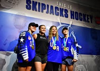 VIDEO: Olympic gold medalists coach ice hockey camp