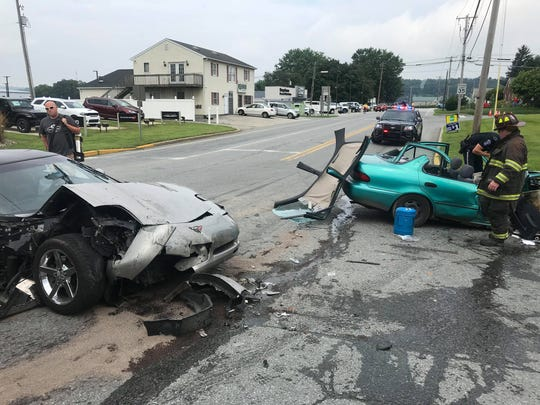 Wrightsville Fire & Rescue teamed with Hellam Township police to rapidly perform an extrication on the green sedan after a two-vehicle crash on Saturday morning in Wrightsville Borough. The patient suffered serious injuries.