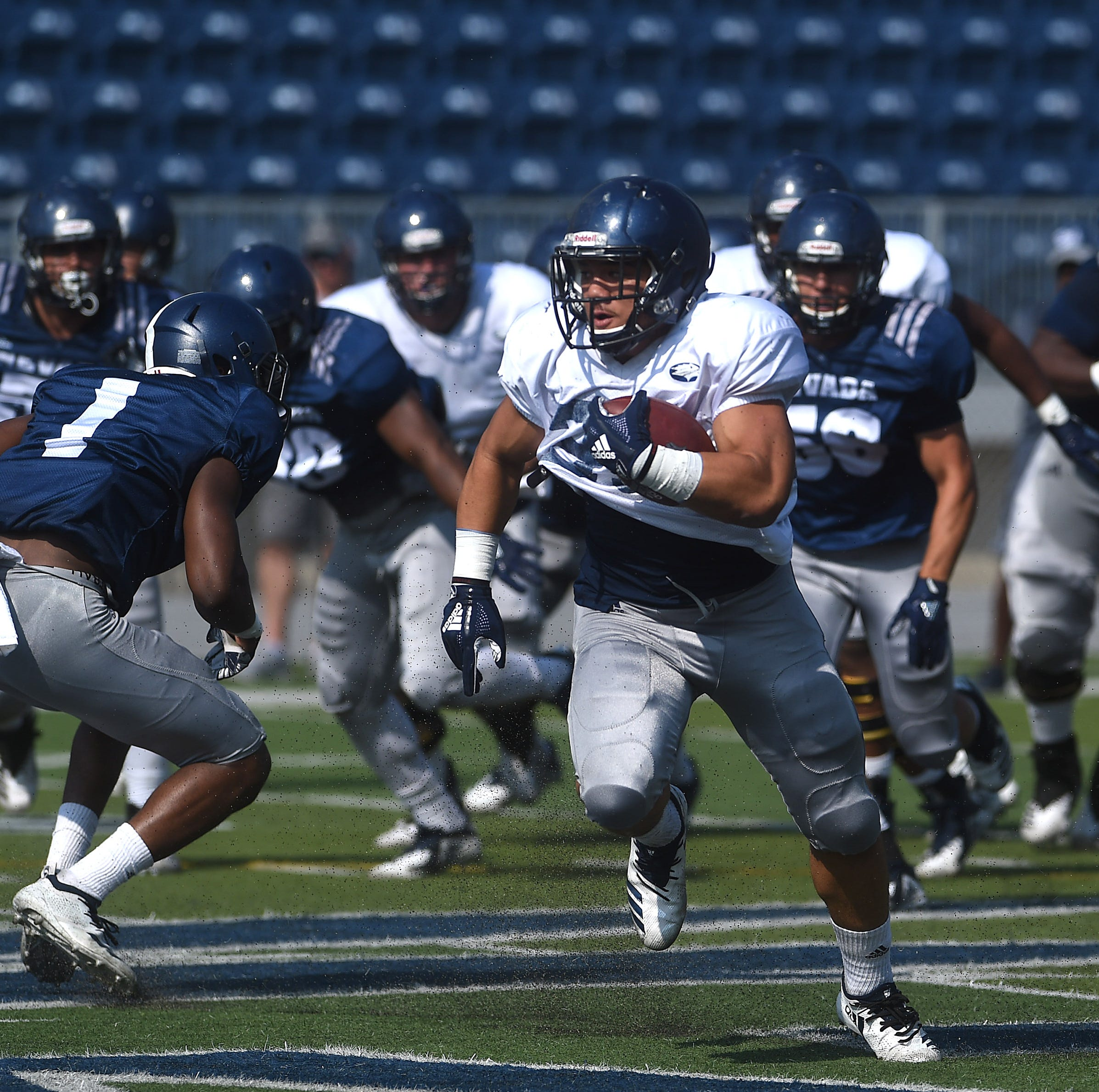 Full-speed football: Wolf Pack gets in 100-plus plays at first scrimmage