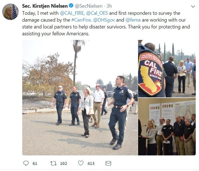 Image of Homeland Security Secretary Kirstjen Nielsen's tweet of her visit to Shasta County areas ravaged by the Carr Fire.
