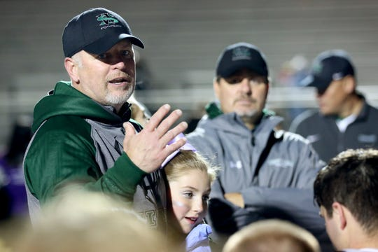 West Salem head coach Shawn Stanley talks to his team after the West Salem vs. South Salem football game at South Salem High School on Friday, Oct. 21, 2016. West Salem won the game 45-9.