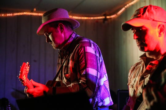 Lori Jo and the Heroes of Honky Tonk band members play on stage Friday, Aug. 10, 2018, at the VFW Post in San Angelo.