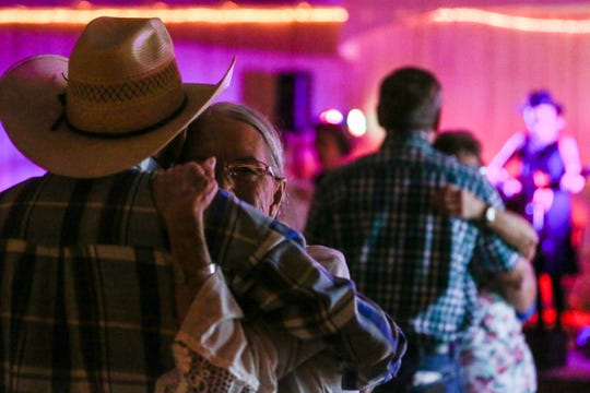 Ronnie and Prissy Paxton dance while Lori Jo and the Heroes of Honky Tonk perform Friday, Aug. 10, 2018, at the VFW Post in San Angelo.