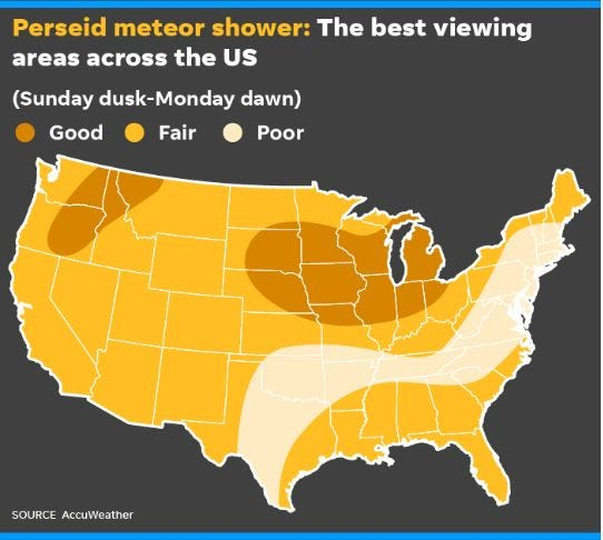 A map showing the best viewing areas of the Perseids meteor shower in the U.S.
