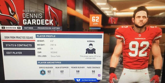 Madden has USF's Dennis Gardeck on the Arizona practice squad