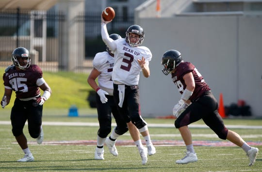 The Missouri State Bears football team pitted the offense vs the defense during a scrimmage on Saturday, Aug. 11, 2018.