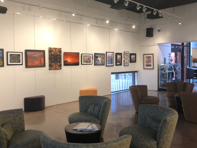 The art on display at the Mesquite Fine Arts Center gallery for the Earth, Wind & Fire exhibition and competition.