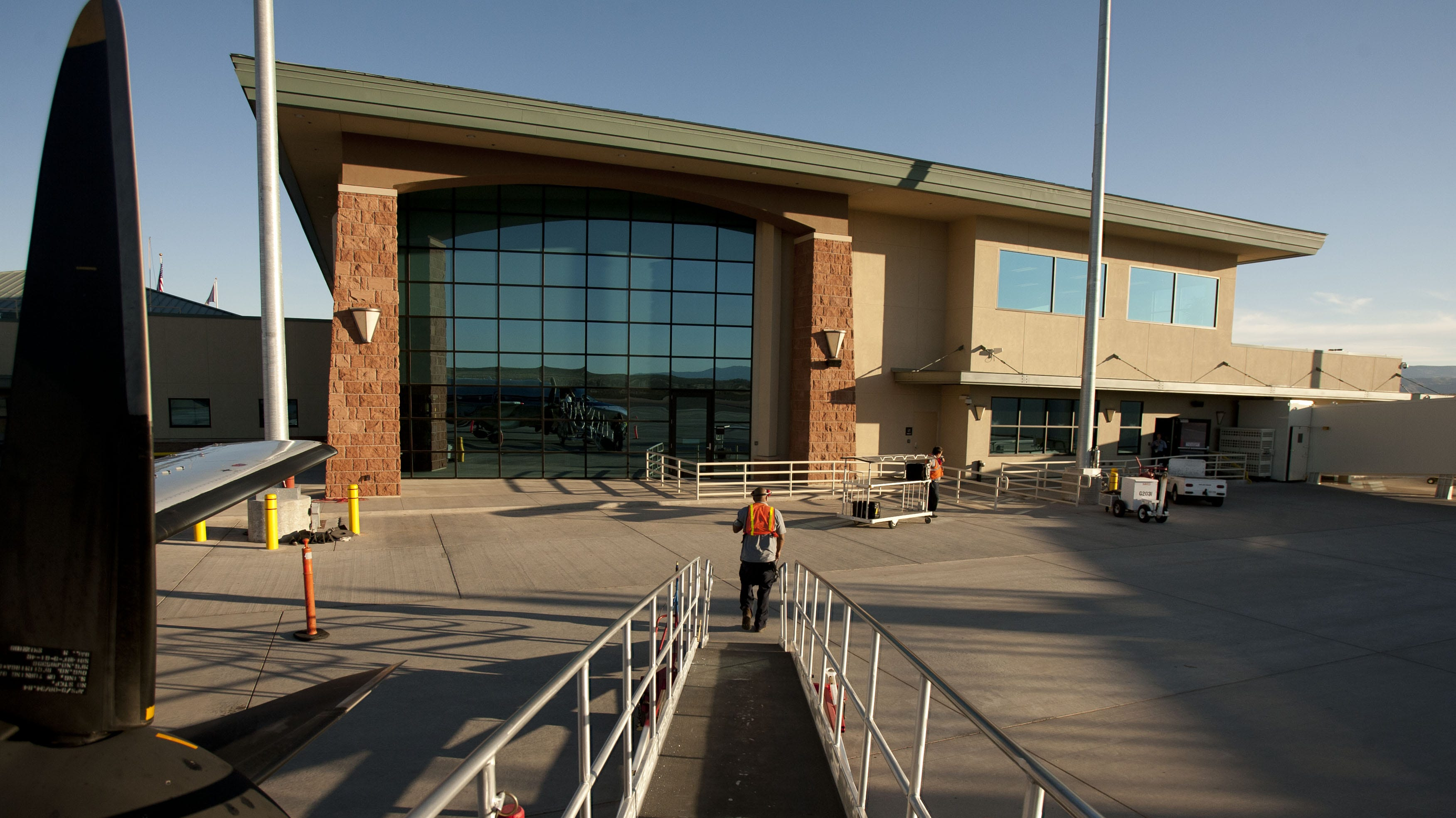 The St. George Municipal Airport is photographed in 2012, one year after opening.