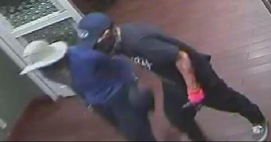 The hotel robbers were wearing bandannas and were armed during both robberies.