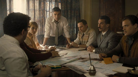 """From L to R) Mélanie Laurent as Hanna Regev, Oscar Isaac as Peter Malkin, Nick Kroll as Rafi Eitan, Michael Aronov as Zvi Aharoni, and Greg Hill as Moshe Tabor in """"Operation Finale,"""" written by Matthew Orton and directed by Chris Weitz."""