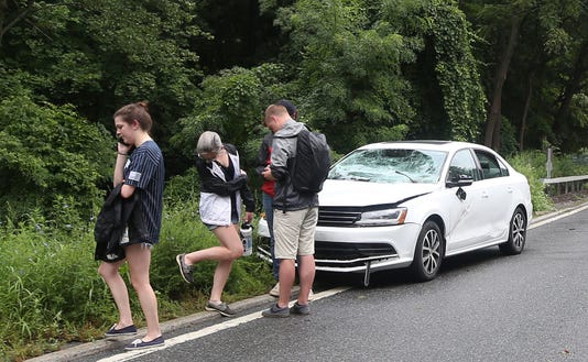 Tree Hits Cars On Saw Mill