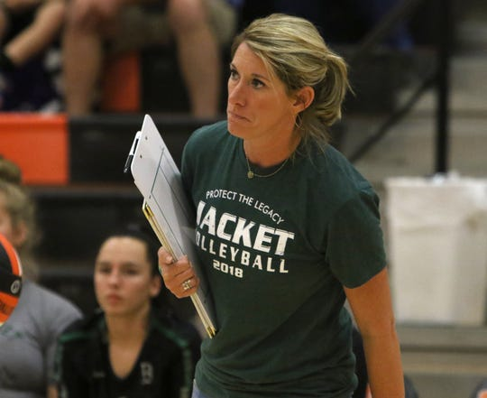 Boyd head coach Dusty Crafton watches her team compete against Windthorst Saturday, Aug. 11, 2018, at the Cool in Boomtown volleyball tournament in Burkburnett. The Lady Jackets defeated the Trojanettes 25-20, 25-16 to leave with the championship.