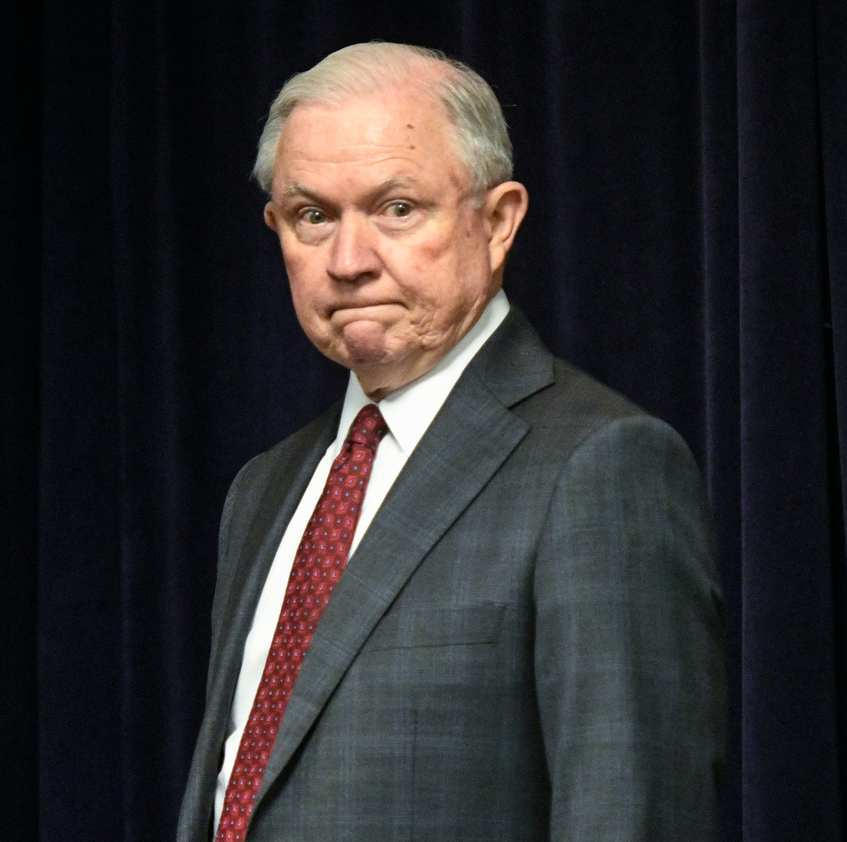 Attorney General Jeff Sessions is pictured before delivering remarks on efforts to combat violent crime in America during an appearance at the United States Attorney's Office for the Middle District of Georgia on Thursday August 9, 2018, in Macon, Ga.