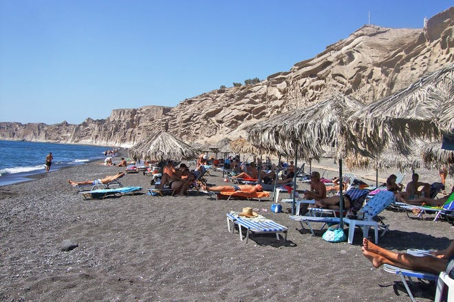 Beaches like Vlychada, on Santorini's south coast, show off the island's dramatic terrain formed by thousands of years of volcanic activity.