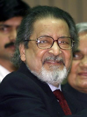 In this Feb. 18, 2002 file photo Nobel laureate V.S. Naipaul attends an International Festival of Indian Literature in New Delhi, India. The family of the Trinidad-born British author says the Nobel Literature laureate has died at the age of 85. The family said in a statement late Saturday, Aug. 11, 2018, that the novelist had died at his London home.