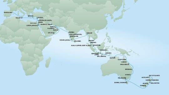 A new Regent Seven Seas Cruises itinerary in 2020 will feature calls in Europe, Asia, Australia and New Zealand.
