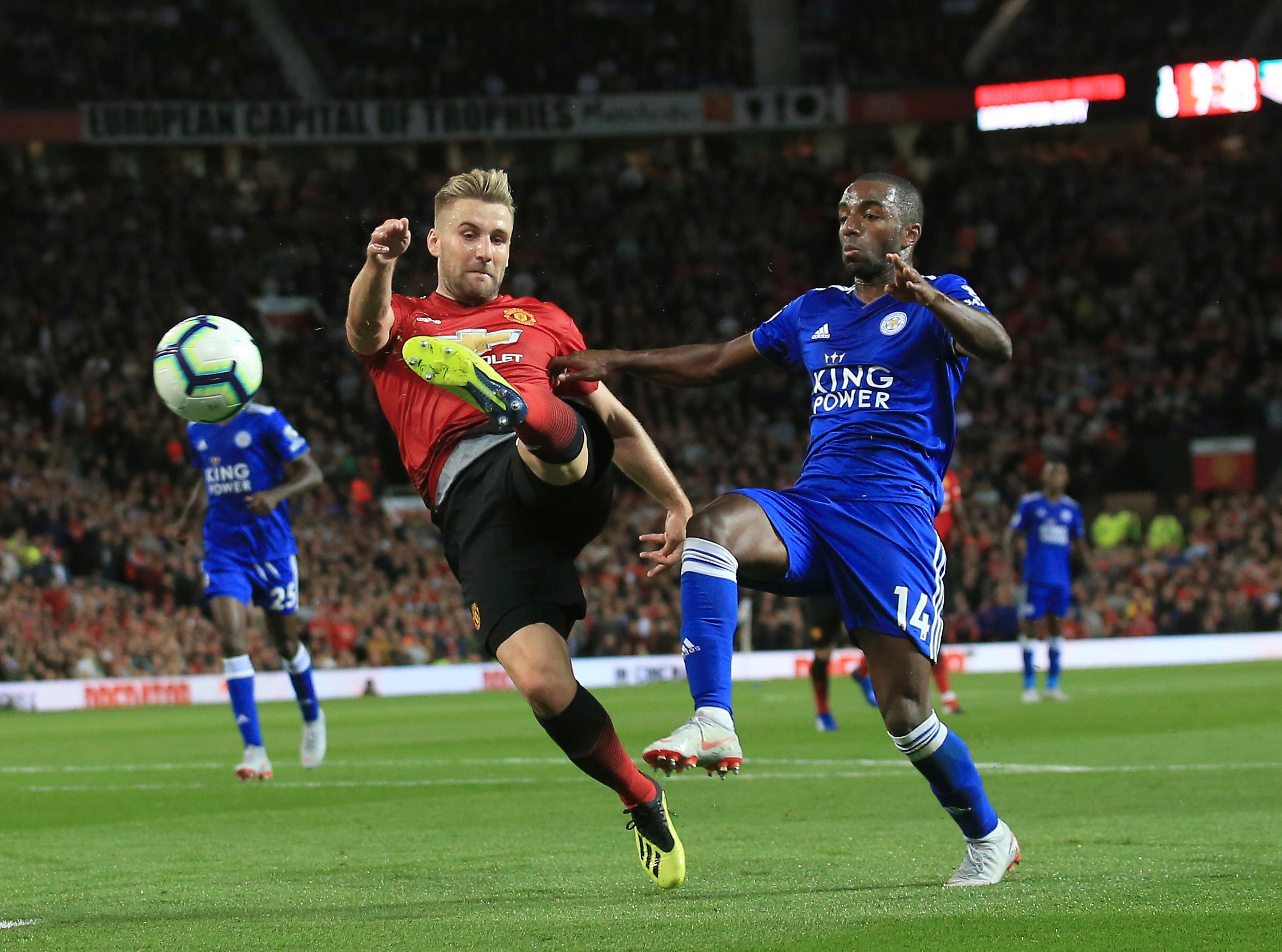 Manchester United's Luke Shaw shoots and scores his team's second goal against Leicester.