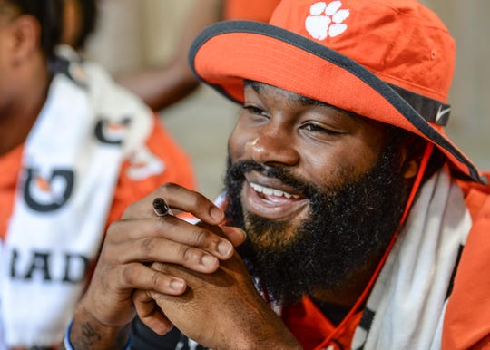 Clemson wide receiver Trevion Thompson (1) during Clemson University football fan day in Memorial Stadium on Sunday, August 12, 2018.