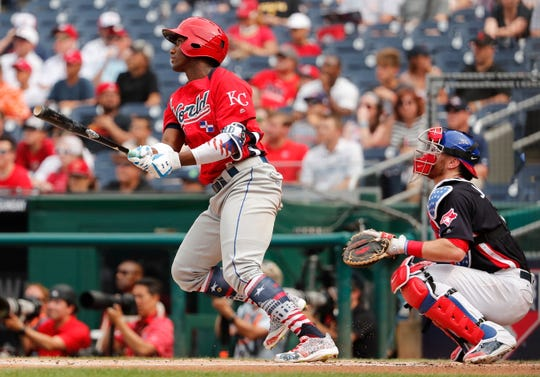 Appleton West graduate Danny Jansen, right, played catcher for the United States squad in the All Star Futures Game last month.