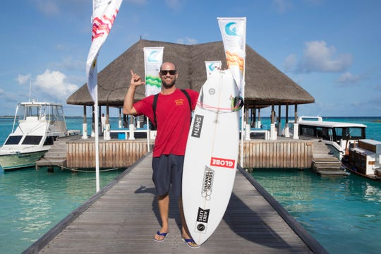 C.J. Hobgood during the TwinFin Division at the Four Seasons Maldives Surfing Champions Trophy event.