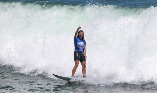 Caroline Marks seals her victory in Los Cabos, Mexico, earlier this year.