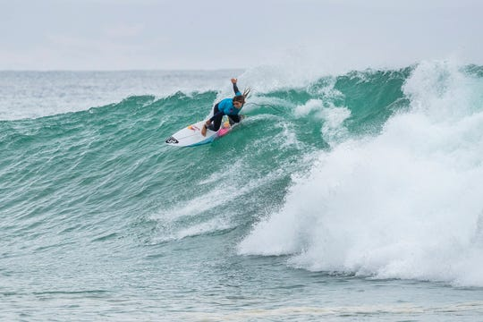 Caroline Marks surfs in the 2018 Women's Corona Open J-Bay with an equal 9th finish after placing third in Heat 4 of Round 3 at Supertubes, Jeffreys Bay, South Africa.