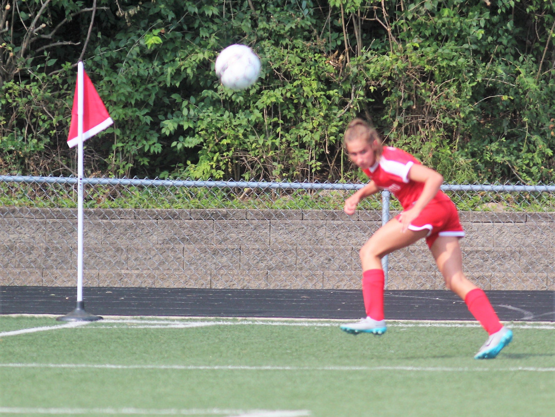 Beechwood sophomore Tayvin Curless watches her crossing pass as Beechwood plays Scott in girls Soccerama scrimmage Aug. 10, 2018 at Tower Park, Fort Thomas.